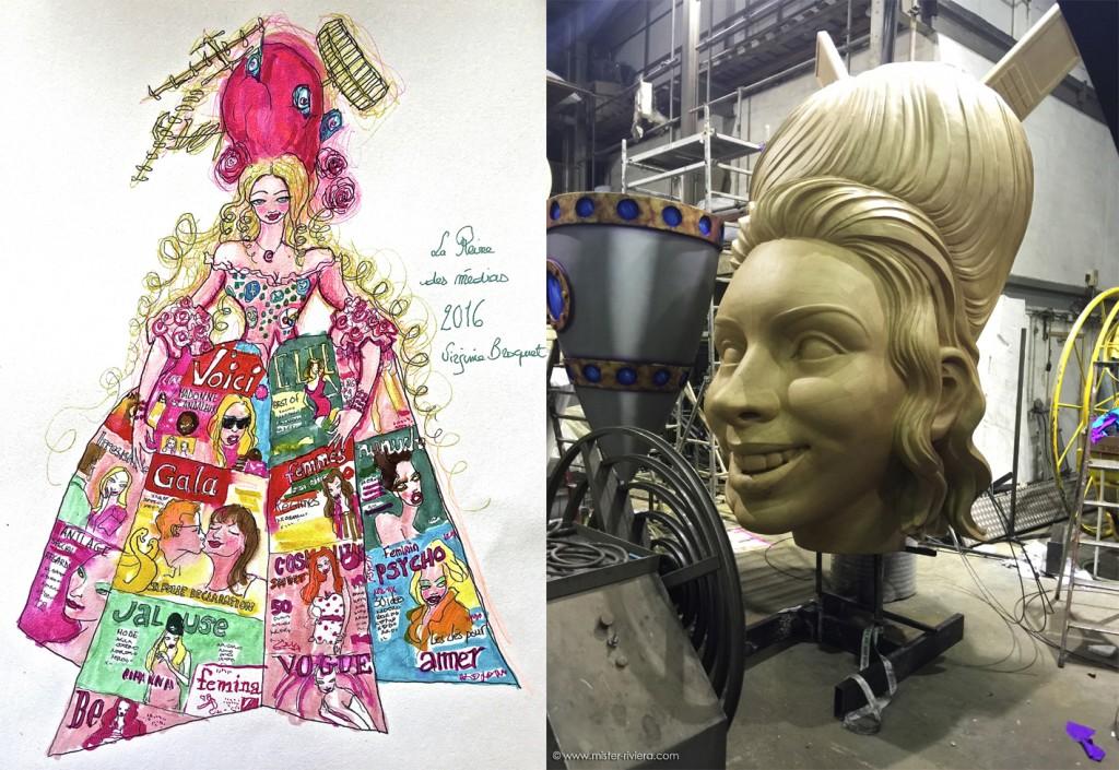La Reine des Médias - Croquis du char créé par l'artiste Virginie Broquet - Réalisé par Pierre Povigna - Carnaval de Nice - Côte d'Azur - Blog Mister Riviera 2016 lg