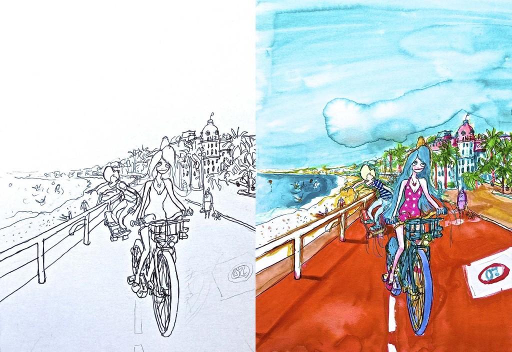 Cahier de Coloriages Nice, Côte d'Azur - Illustration de Mister Riviera devant le Negresco Promenade des Anglais par Virginie Broquet - Blog Mister Riviera 2016