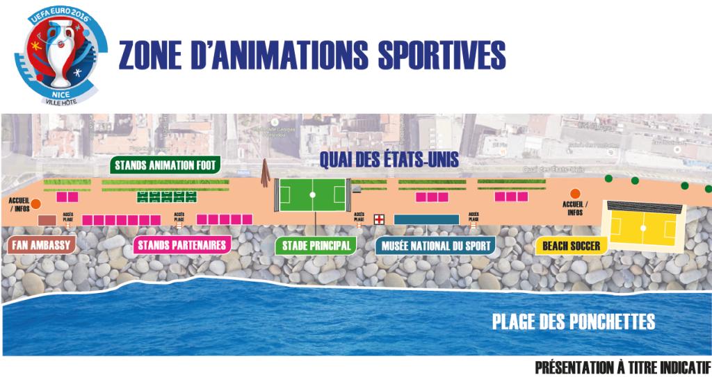 UEFA à Nice - Fanzone - Espace d'animations sportives et ludiques sur la French Riviera - EURO 2016 à Nice, Côte d'Azur - Quai des Etats Unis - Blog Mister Riviera 2016