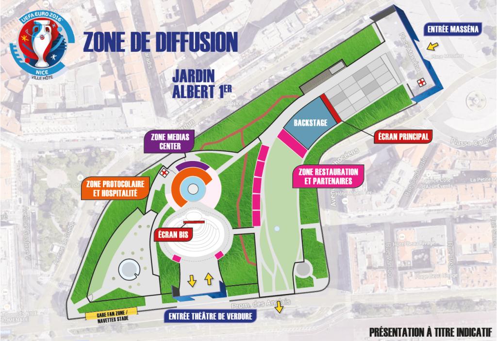 UEFA à Nice - Fanzone - Espace de diffusion des matchs de l'EURO 2016 à Nice, Côte d'Azur - Jardin Albert 1er Théâtre de Verdure - Blog Mister Riviera 2016